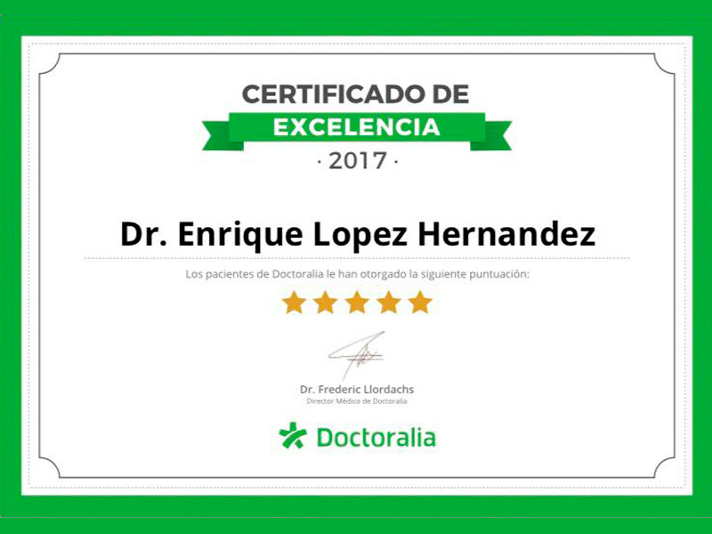 Certificado de Excelencia Doctoralia - Traumatologos en Veracruz